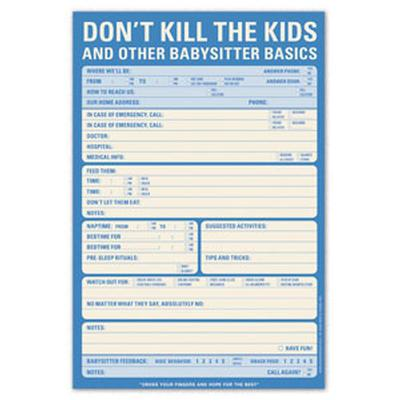 Click to get Don't Kill the Kids Babysitter Checklist